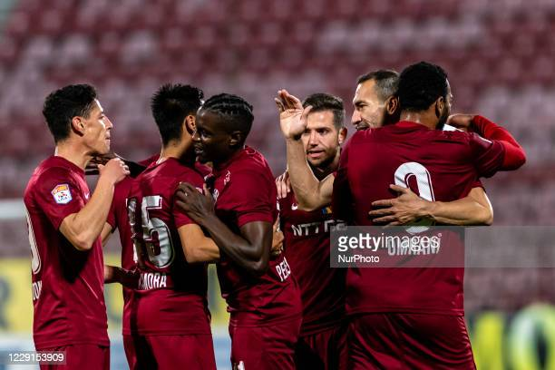 Players of CFR Cluj celebrating after scoring victory goal during the 7th game in the Romania League 1 between CFR Cluj and FC Botosani, at...