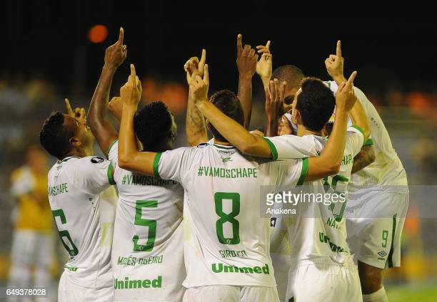 Players of Chapecoense celebrate their first goal scroed by Reinaldo during a group stage match between Zulia and Chapecoense as part of Copa...