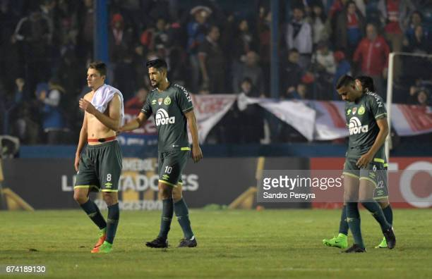 Players of Chapecoense leave the pitch after a match between Nacional and Chapecoense as part of Copa CONMEBOL Libertadores 2017 at Gran Parque...