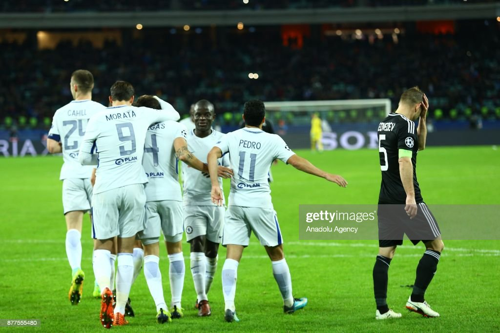 Players of Chelsea celebrate after scoring a goal during the UEFA Champions League Group C soccer match between Qarabag and Chelsea at the Baku National Stadium in Baku, Azerbaijan on November 22, 2017.