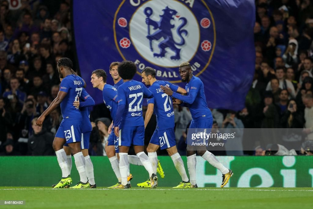 Players of Chelsea celebrate after scoring during the UEFA Champions League Group C match between Chelsea FC and Qarabag FK at Stamford Bridge on September 12, 2017 in London, United Kingdom.