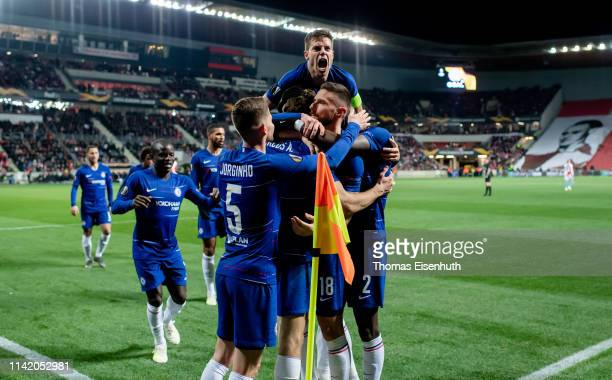 Players of Chelsea celebrate after their team's first goal during the UEFA Europa League Quarter Final First Leg match between Slavia Prague and...