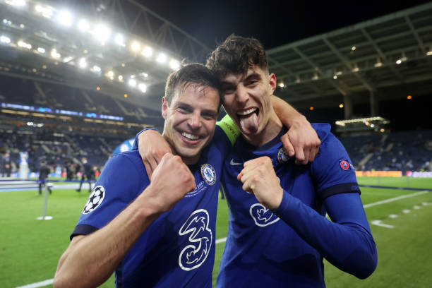 Players of Chelsea Cesar Azpilicueta and Kai Havertz celebrate at the end of the UEFA Champions League final match against Manchester City at Dragao...