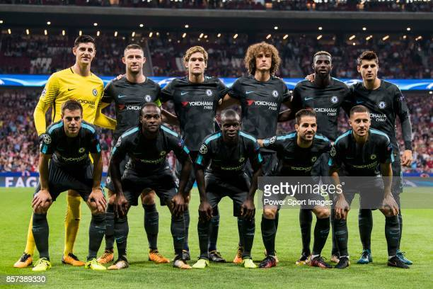 Players of Chelsea FC line up and pose for a photo prior to the UEFA Champions League 201718 match between Atletico de Madrid and Chelsea FC at the...