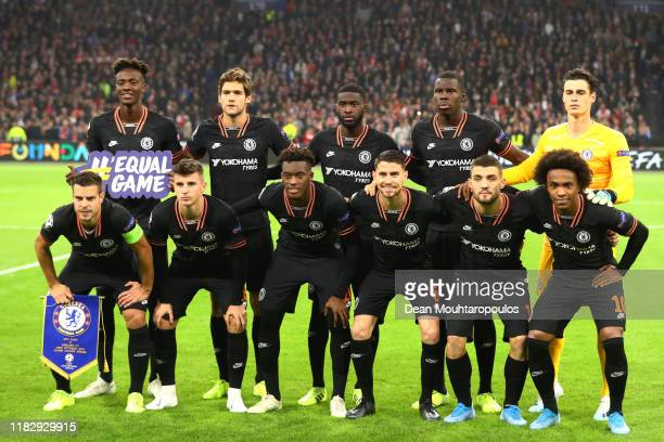 Players of Chelsea FC pose for a team photograph prior to the UEFA Champions League group H match between AFC Ajax and Chelsea FC at Amsterdam Arena...