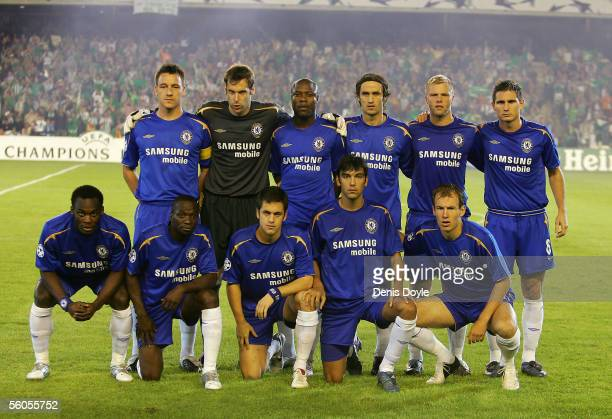 Players of Chelsea line up for a group photo before the UEFA Champions League group G match between Real Betis and Chelsea at the Ruiz de Lopera...