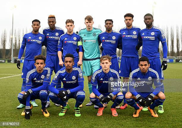 Players of Chelsea pose for a photograph during the UEFA Youth League quarter final match between Chelsea and Ajax at Chelsea Training Ground on...