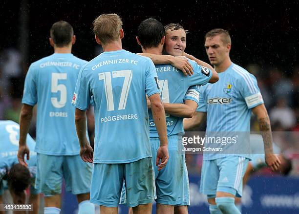 Players of Chemnitz celebrate after the Third Bundesliga match between Fortuna Koeln and Chemnitzer FC at Suedstadion on August 10, 2014 in Cologne,...