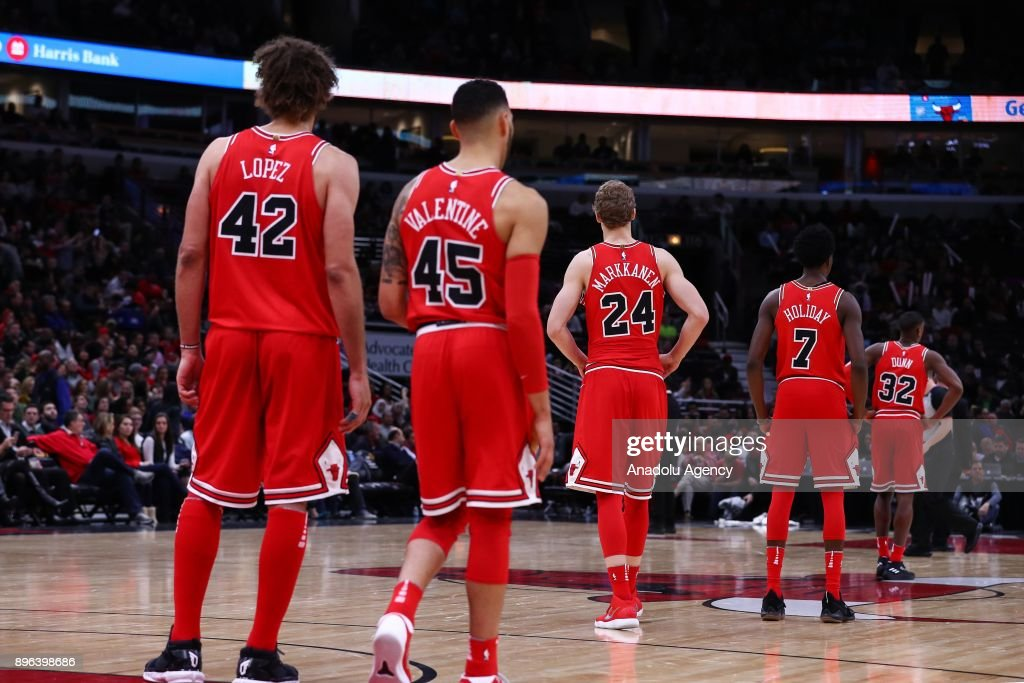 Players of Chicago Bulls line up ahead of an NBA basketball match between Chicago Bulls and Orlando Magic at United Center in Chicago, Illinois, United States on December 20, 2017.