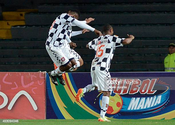 Players of Chico celebrate a goal during a match between Millonarios and Chico as part of Liga Postobon 2014 II at Nemesio Camacho El Campín Stadium...