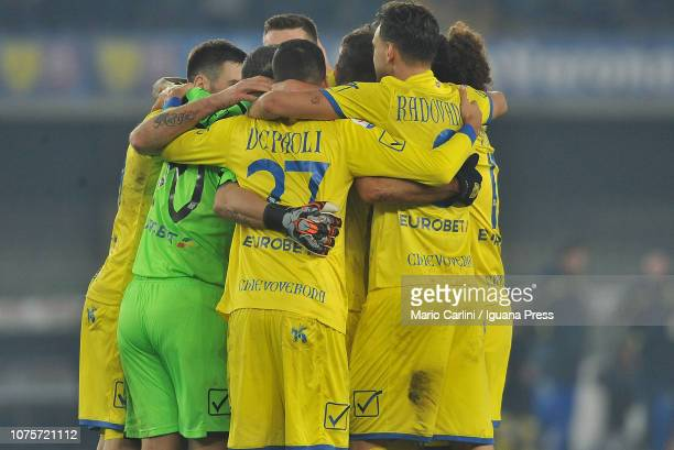 players of Chievo Verona celebrate at the end of the Serie A match between Chievo Verona and Frosinone Calcio at Stadio Marc'Antonio Bentegodi on...