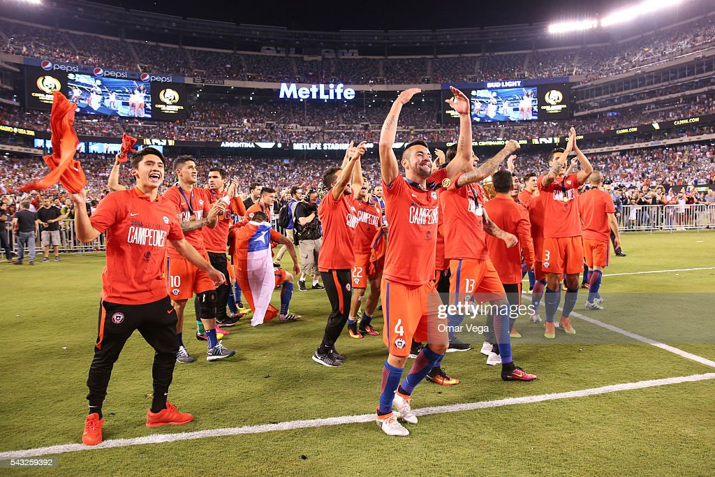 Players of Chile celebrate after winning the championship match between Argentina and Chile at MetLife Stadium as part of Copa America Centenario US 2016 on June 26, 2016 in East Rutherford, New Jersey, US.
