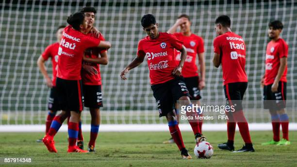 Players of Chile in action during a training session ahead of the FIFA U17 World Cup India 2017 tournament at Kolkata 4 Training Centre on October 5...