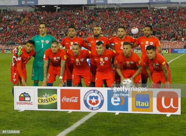 Players of Chile pose for a group photo prior a match between Chile and Paraguay as part of FIFA 2018 World Cup Qualifiers at Monumental Stadium on...
