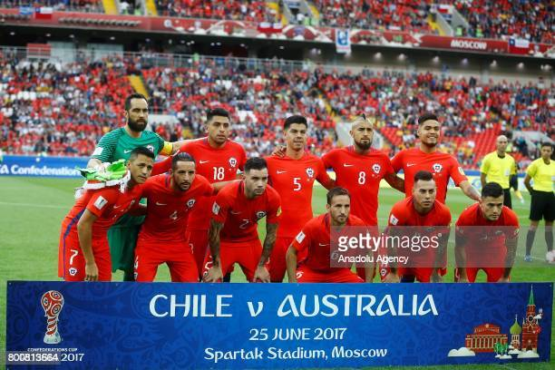 Players of Chile pose for a team photo ahead of the FIFA Confederations Cup 2017 Group B soccer match between Chile and Australia at Spartak Stadium...