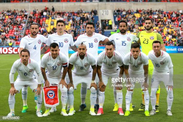 Players of Chile pose for a team photo before the friendly match between Russia and Chile at Veb Arena in Moscow Russia on June 9 2017