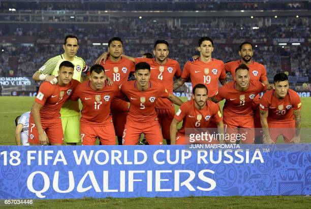 Players of Chile pose for pictures before the start of the 2018 FIFA World Cup qualifier football match against Argentina at the Monumental stadium...