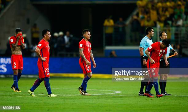 Players of Chile react after losing the match between Brazil and Chile for the 2018 FIFA World Cup Russia Qualifier at Allianz Parque Stadium on...