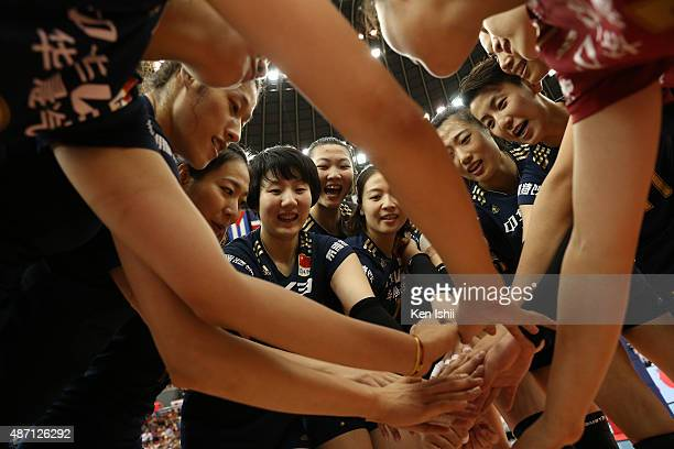 Players of China huddle after victory the match between Japan and China during the FIVB Women's Volleyball World Cup Japan 2015 at Nippon Gaishi Hall...