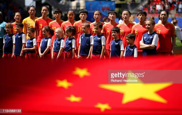Players of China line up prior to the 2019 FIFA Women's World Cup France group B match between Germany and China PR at Roazhon Park on June 08 2019...
