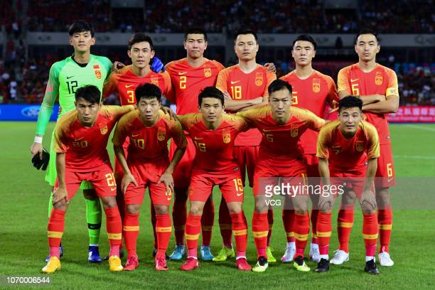 Players of China National Team line up prior to the CFA Team China International Football Match 2018 between China National Team and Palestine...