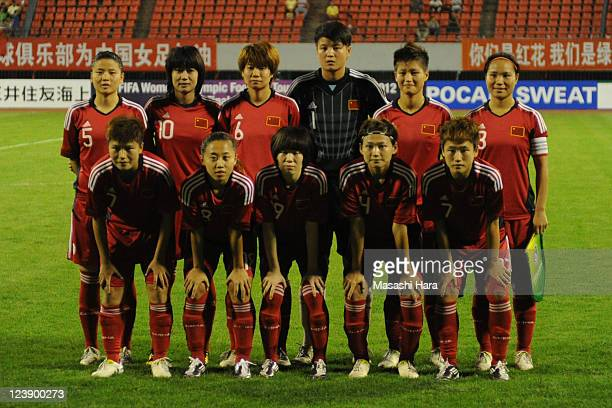 Players of China pose for a team photograph prior to the London Olympic Women's Football Asian Qualifier match between China and Thailand at Shandong...