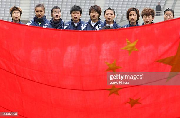 Players of China pose for photographs prior to playing the East Asian Football Federation Women's Championship 2010 match between Chinese Taipei and...