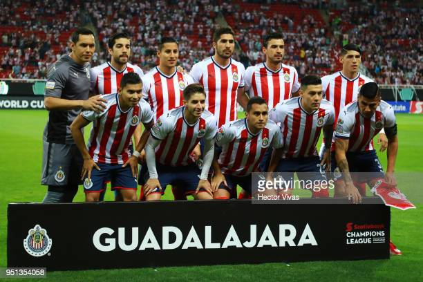 Players of Chiva pose prior the second leg match of the final between Chivas and Toronto FC as part of CONCACAF Champions League 2018 at Akron...