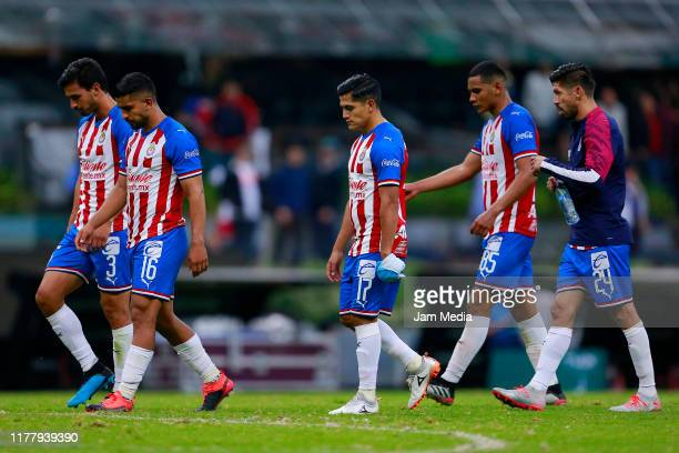 Players of Chivas after the 12th round match between America and Chivas as part of the Torneo Apertura 2019 Liga MX at Azteca Stadium on September 28...