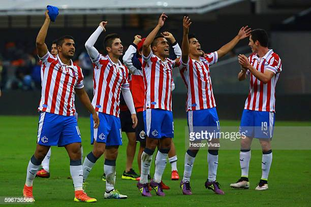 Players of Chivas celebrate after winning the 7th round match between America and Chivas as part of the Torneo Apertura 2016 Liga MX at Azteca...