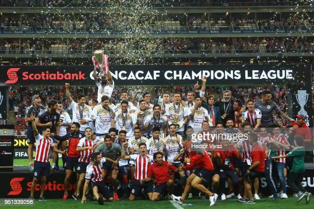 Players of Chivas celebrate their championship after the second leg match of the final between Chivas and Toronto FC as part of CONCACAF Champions...