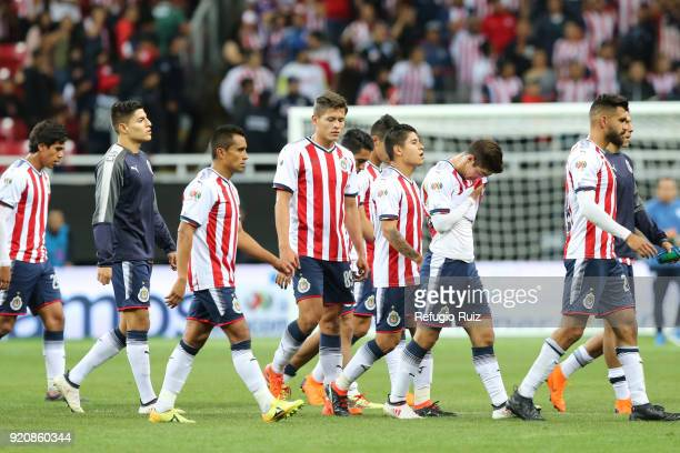 Players of Chivas leave the field at the end of the 8th round match between Chivas and Pachuca as part of the Torneo Clausura 2018 Liga MX at Akron...