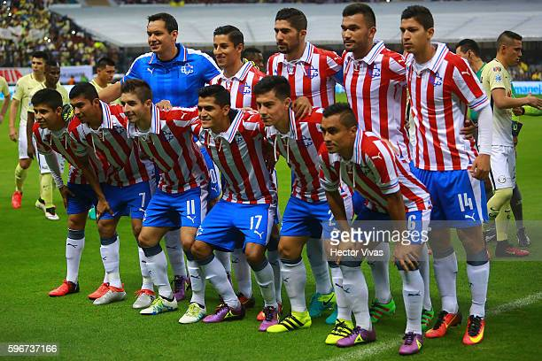 Players of Chivas pose prior the 7th round match between America and Chivas as part of the Torneo Apertura 2016 Liga MX at Azteca Stadium on August...