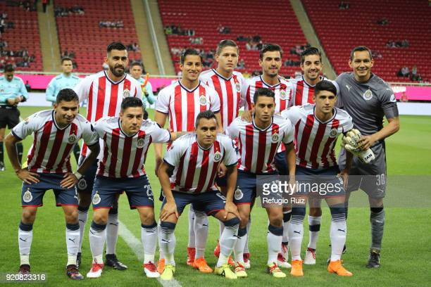 Players of Chivas pose prior the match between Chivas and Pachuca as part of the Torneo Clausura 2018 Liga MX at Akron Stadium on February 17 2018 in...