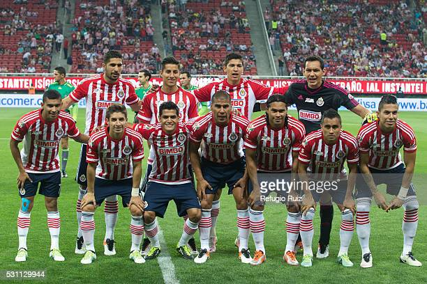 Players of Chivas pose prior the quarter finals first leg match between Chivas and America as part of the Clausura 2016 Liga MX at Chivas Stadium on...