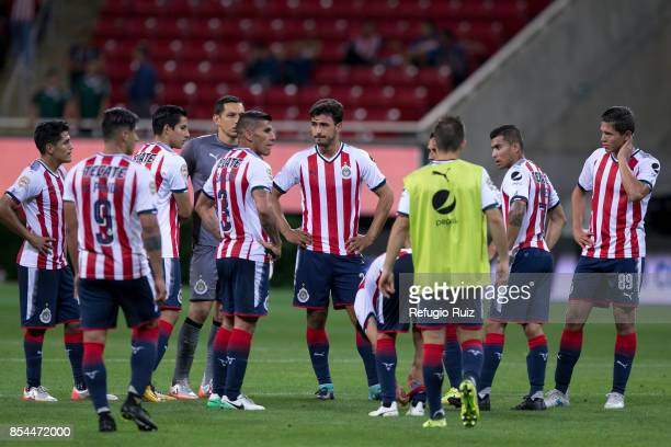 Players of Chivas react after a defeat in the 11th round match between Chivas and Lobos BUAP as part of the Torneo Apertura 2017 Liga MX at Chivas...