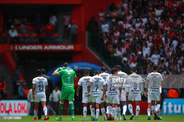 Players of Chivas react during the third round match between Toluca and Chivas as part of the Torneo Apertura 2018 Liga MX at Nemesio Diez Stadium on...