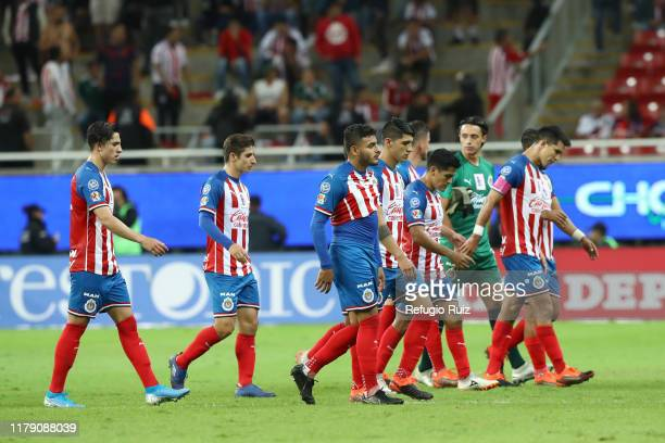 Players of Chivas reacts during the 16th round match between Chivas and Tijuana as part of the Torneo Apertura 2019 Liga MX at Akron Stadium on...