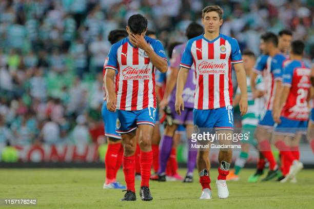 Players of Chivas reacts during the 1st round match between Santos Laguna and Chivas as part of the Torneo Apertura 2019 Liga MX at Corona Stadium on...