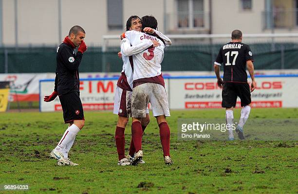 Players of Cittadella celabrates at the end game the Serie B match between AS Cittadella and Reggina Calcio at Stadio Pier Cesare Tombolato on...