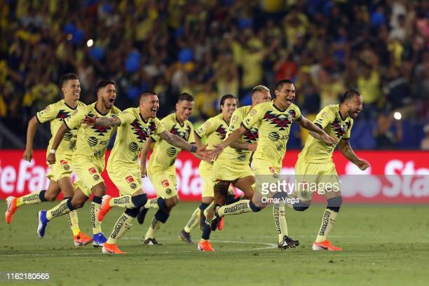 Players of Club America celebrate after winning the match between Club America and Tigres UANL as part of the Campeon de Campeones Cup at Dignity...