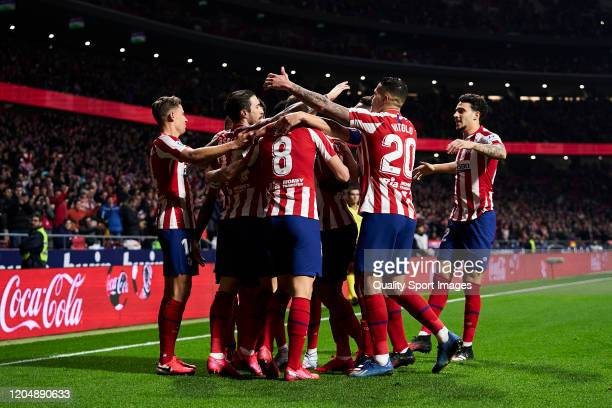 Players of Club Atletico de Madrid celebrates after scoring his team's first goal during the Liga match between Club Atletico de Madrid and Granada...