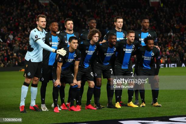 Players of Club Brugge pose for a team photo prior to the UEFA Europa League round of 32 second leg match between Manchester United and Club Brugge...