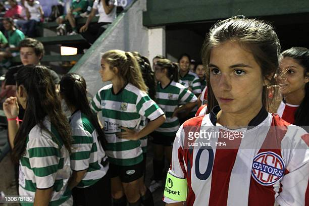Players of Colegio Cristo Rey and American School before the FIFA Women's Football Initiative on October 27 2011 in Asuncion Paraguay