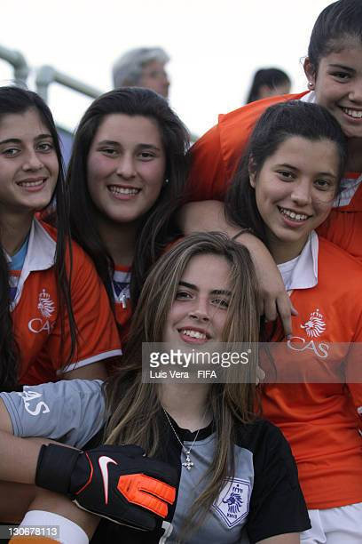 Players of Colegio de Asuncion pose before the FIFA Women's Football Initiative on October 27 2011 in Asuncion Paraguay