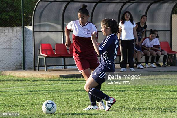 Players of Colegio Del Sol and San Luis in action during the FIFA Women's Football Initiative on October 27 2011 in Asuncion Paraguay