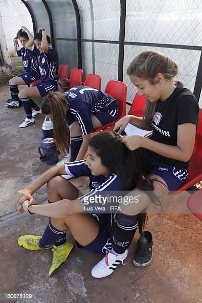 Players of Colegio del Sol before the FIFA Women's Football Initiative on October 27 2011 in Asuncion Paraguay