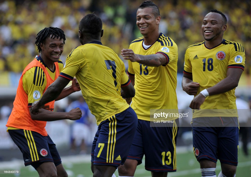 Players of Colombia celebrate a goal against Bolivia during a match between Colombia and Bolivia as part of the 11th round of the South American Qualifiers for the FIFA World Cup Brazil 2014 at the Roberto Melendez Metropolitan Stadium on March 22, 2013 in Barranquilla, Colombia.