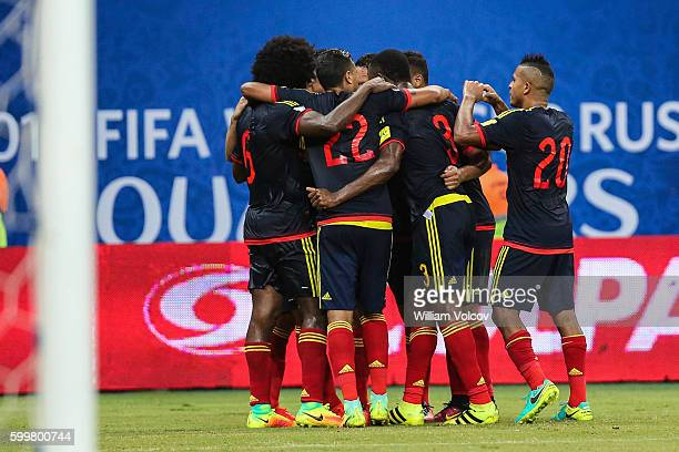 Players of Colombia celebrate after Marquinhos of Brazil scored an own goal during a match between Brazil and Colombia as part of FIFA 2018 World Cup...
