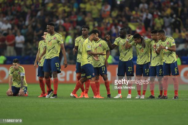 Players of Colombia celebrate during a penalty shootout after the Copa America Brazil 2019 quarterfinal match between Colombia and Chile at Arena...